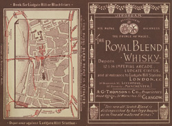 Advert for AG Thomas & Co's Royal Blend Whisky, reverse side